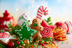 Sugary holiday foods and decorations